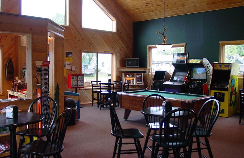 Rec room at Auger's Pine View Resort.