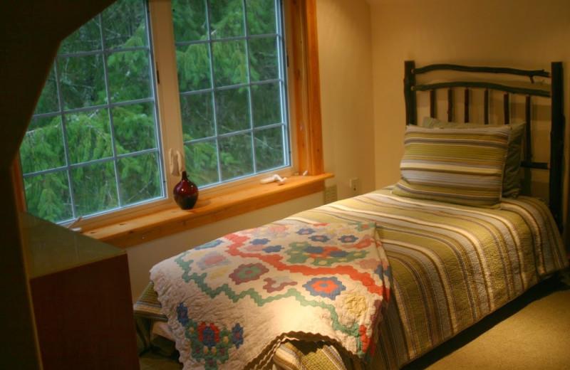 Cabin bedroom at Copper Creek Inn.