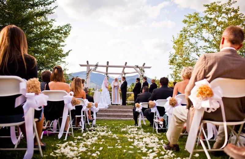 Wedding ceremony at Waterville Valley Resort.