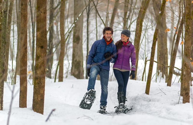 Snowshoeing at Fairmont Le Chateau Montebello.