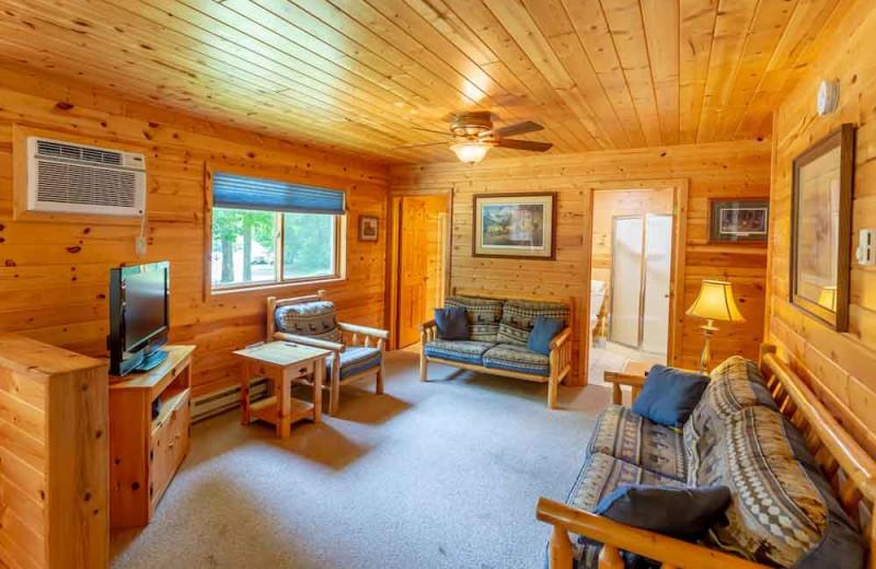 Cabin living room at The Red Door Resort.