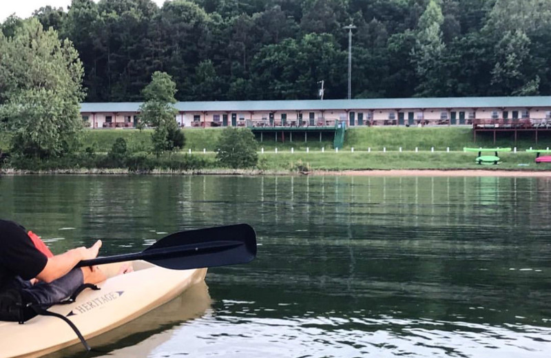 Kayaking at Tanglewood Lodge.