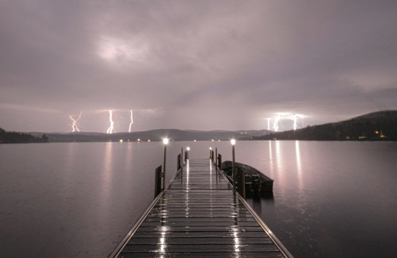 Spectacular lighting show on the western shore of international Wallace Pond, Canaan, Vermont's Northeast Kingdom.