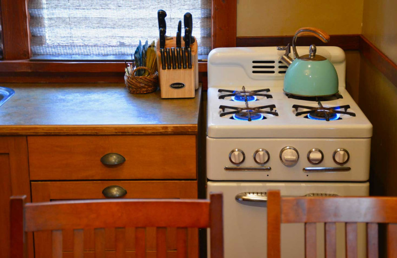 Cabin kitchen at Johnston Canyon Lodge & Bungalows.