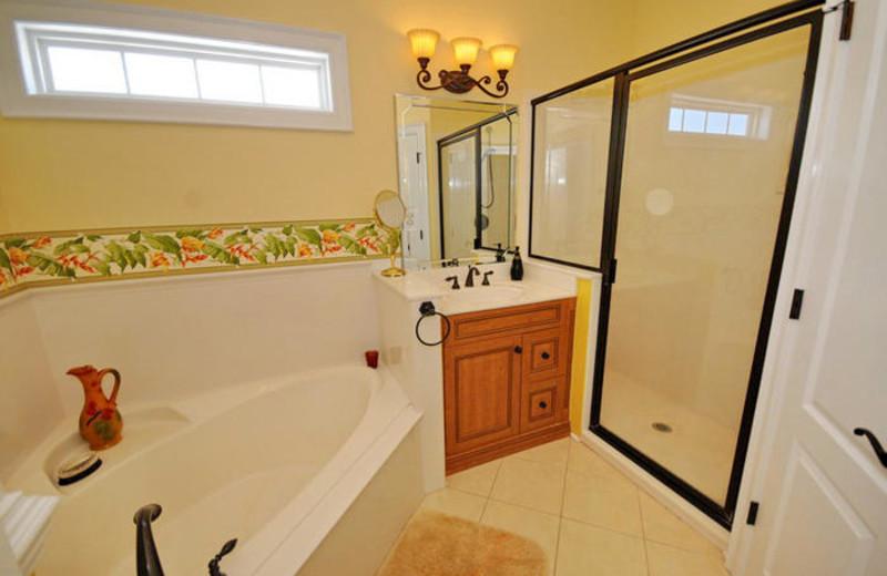 Rental bathroom at MyrtleBeachVacationRentals.com.