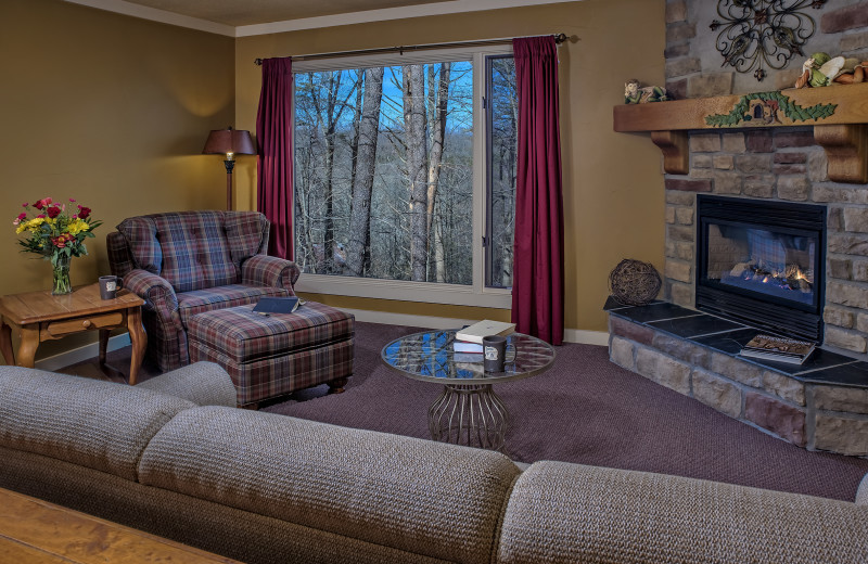 The MacTavish Cottage living room at Glenlaurel, A Scottish Inn & Cottages.
