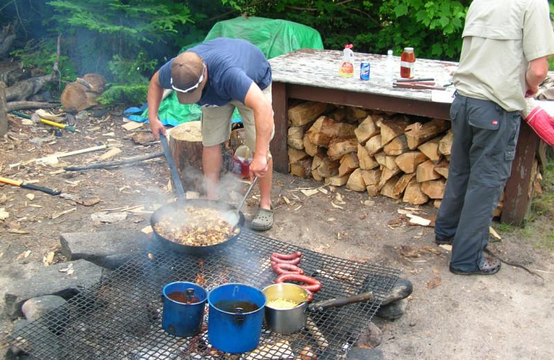 Campfire at Maynard Lake Lodge and Outpost.