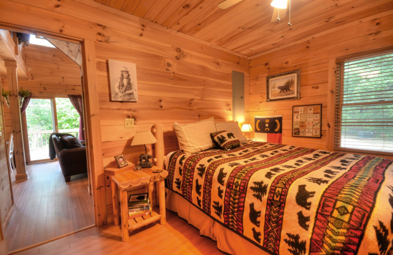 Rental bedroom at Smoky Mountain Cabins.