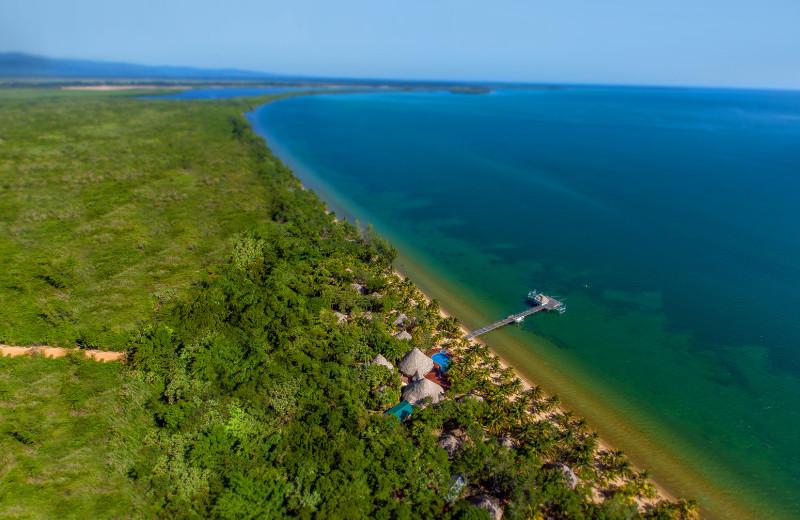 Aerial view of Kanantik Reef & Jungle Resort.