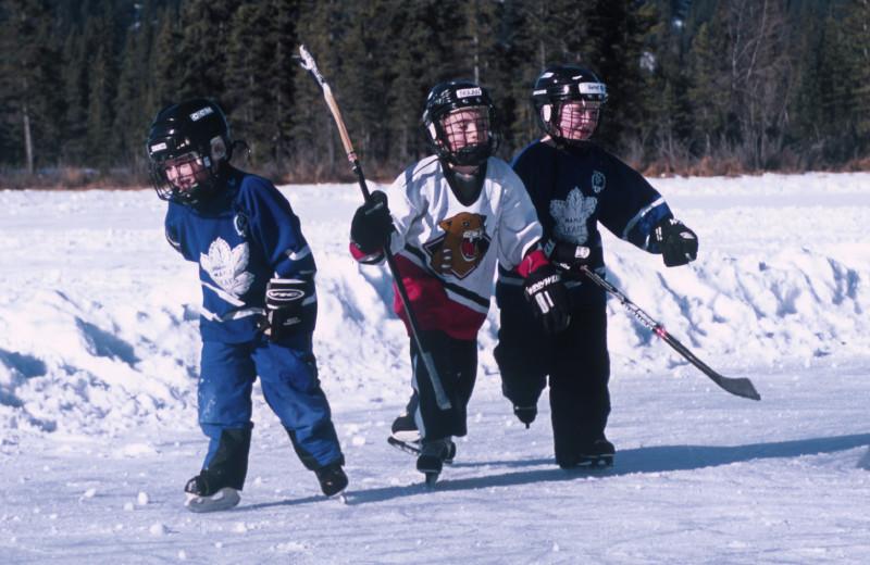 Ice skating near Gingerbread Cabin.