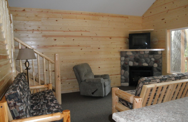 Cabin living room at Kokomo Resort.