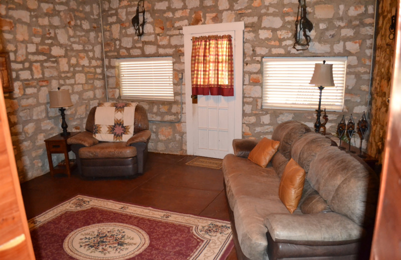 Cabin living room at Panther Valley Ranch.