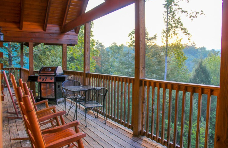 Cabin deck at Mountain Shadows Resort.