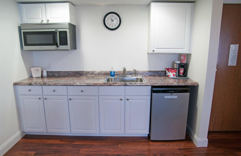 Guest kitchenette at Charlevoix Inn & Suites.