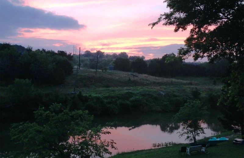Sunset at Creekside Camp & Cabins.