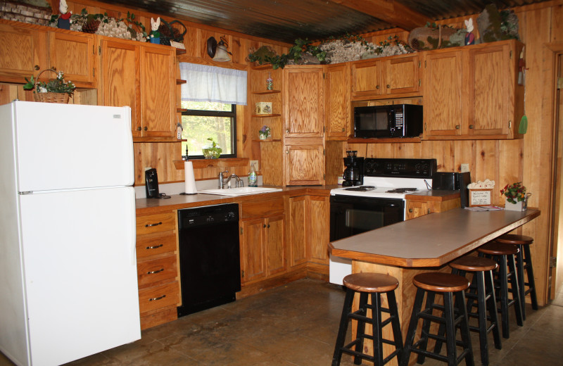 Rabbit Lodge kitchen at Heath Valley Cabins.