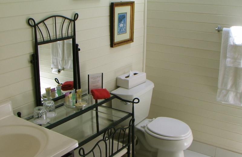 Guest bathroom at Napa Valley Railway Inn.