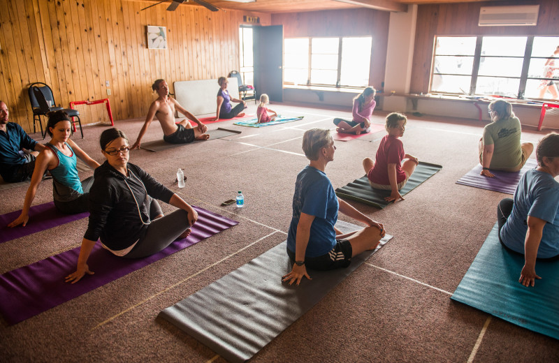 Yoga Classes looking out at Pelican Lake
