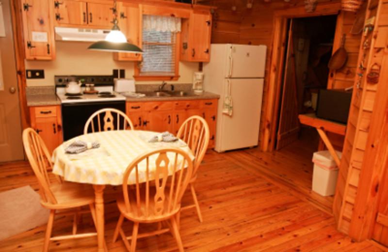 Cabin kitchen at Cavender Creek Cabins.