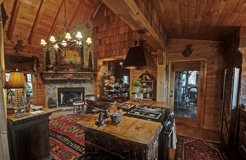 Cabin kitchen at Sliding Rock Cabins.