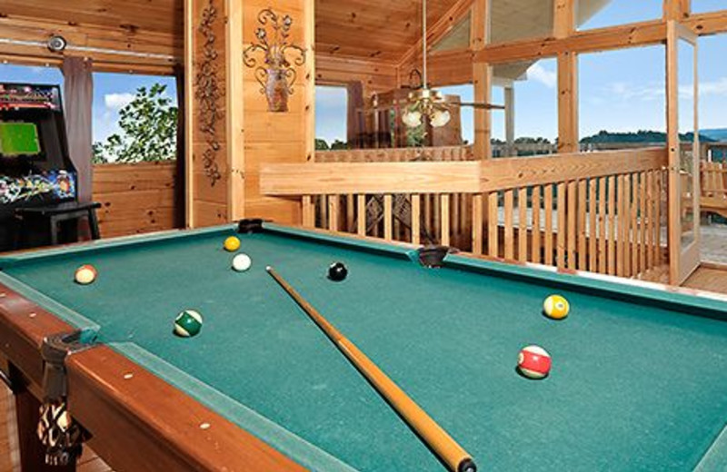Cabin billiards table at Dollywood Cabins.