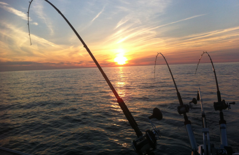 Fishing at Lake Leelanau Narrows Resort.