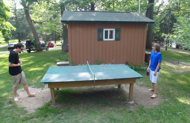 Ping Pong table at Woodland Beach Resort.