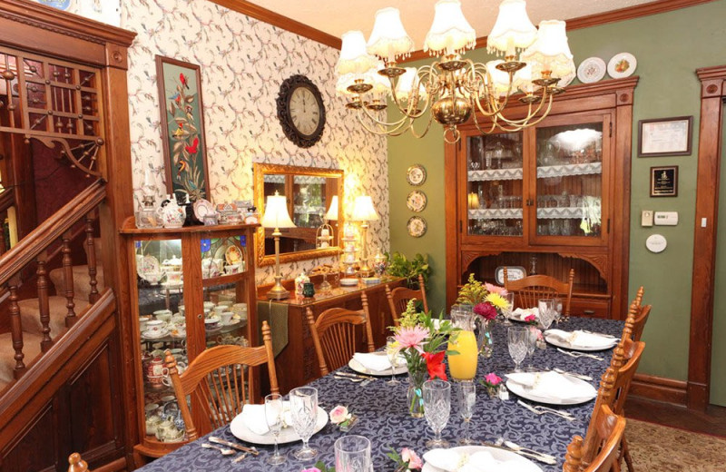 Dining room at Country Victorian Bed and Breakfast.