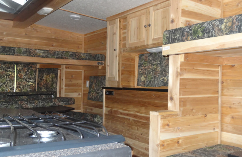Interior view of ice fishing house at Twin Oaks Resort & RV Park.