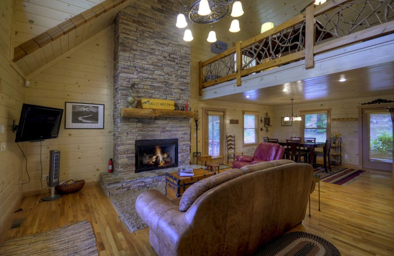 Rental living room at Nevaeh Cabin Rentals.