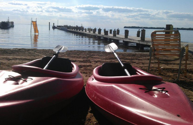 Kayaking at Appeldoorn's Sunset Bay Resort.