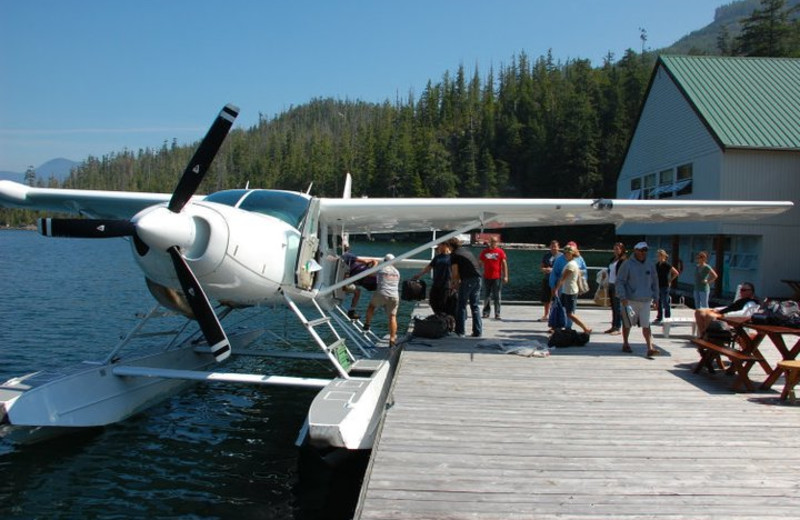 Plane boat at Nootka Wilderness Lodge.