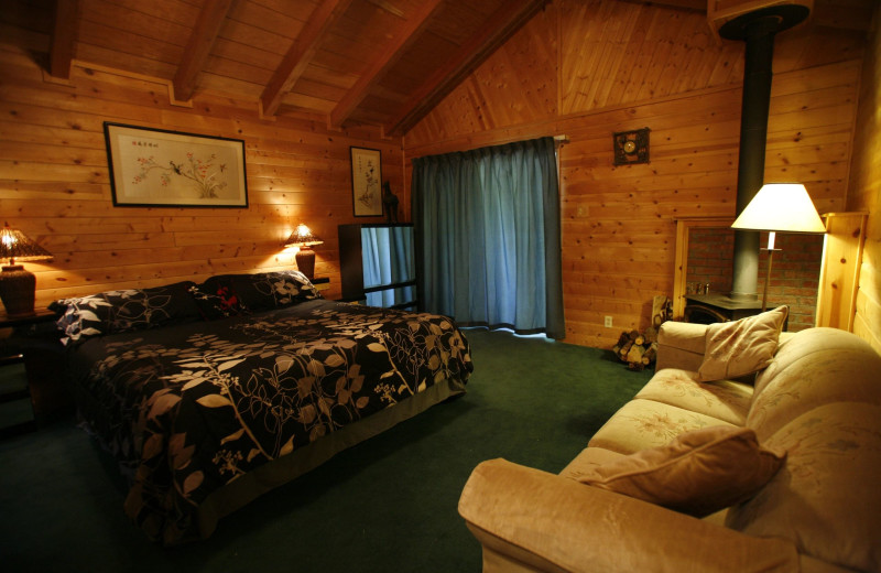 Cabin living room at Coffee Creek Ranch.