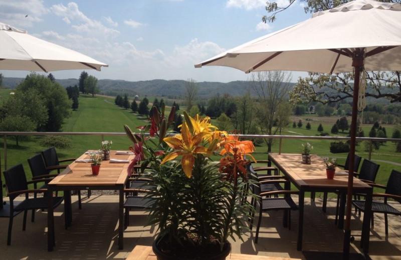 Patio dining at Lenape Heights Golf Resort.