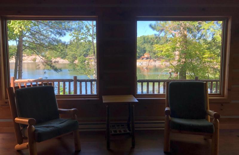 Cabin view at Riverbay Adventure Inn.