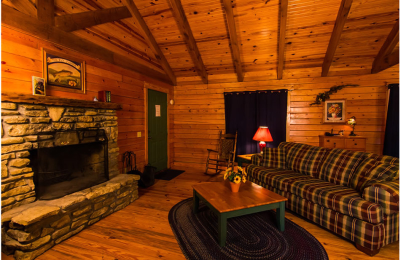 Cabin living room at Whispering Hills Cabins.