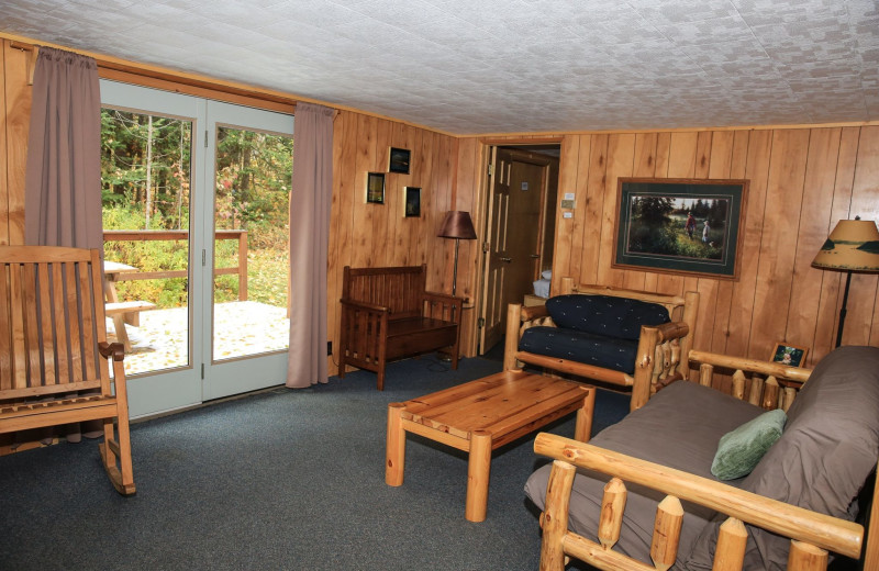Cabin living room at Timber Trail Lodge & Resort.