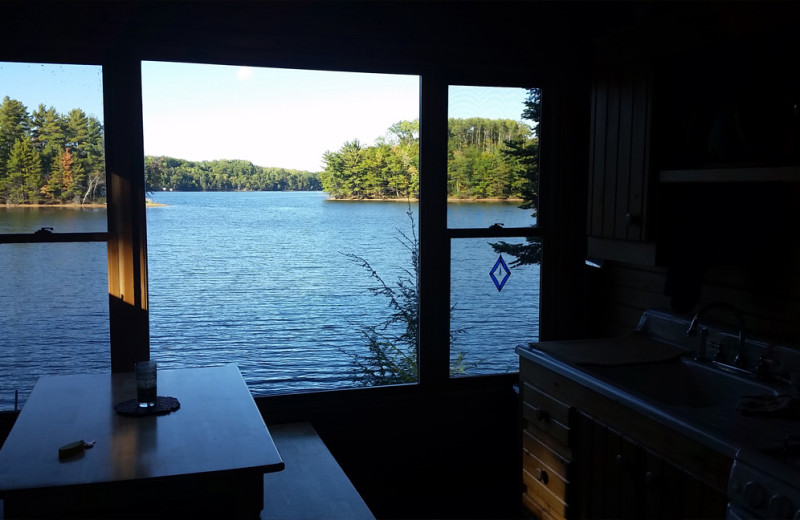 Lake view from cabin at Spooky Bay Resort.