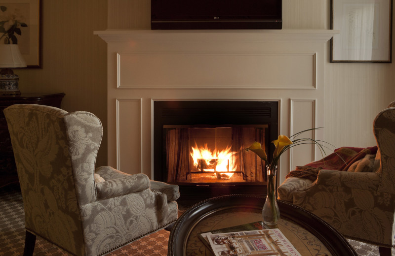 Guest room fireplace at Saybrook Point Resort and Marina.