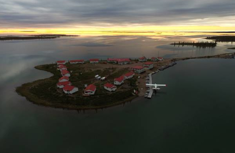 Aerial view of lodging at Plummer's Arctic Fishing Lodges.