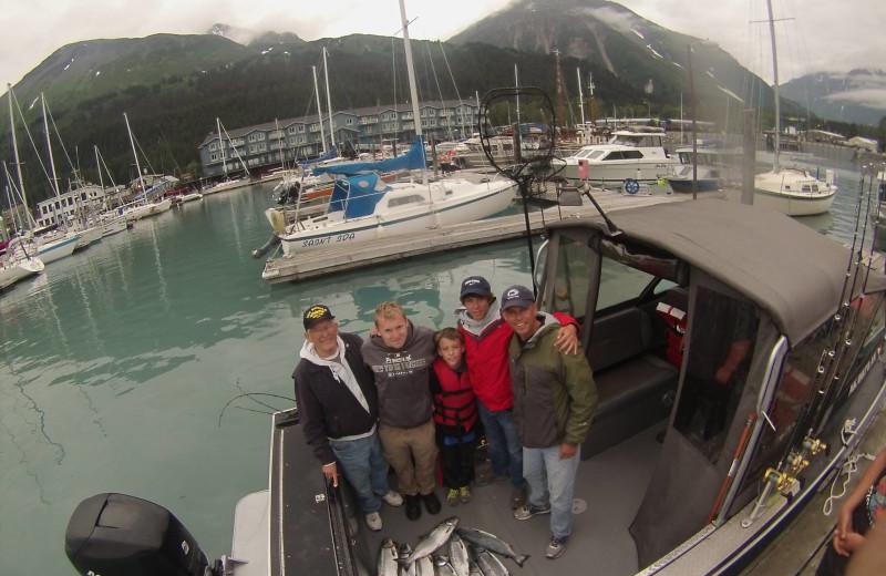 Family fishing at Trail Lake Lodge.