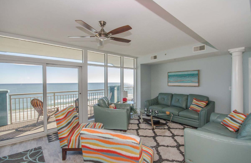 Rental living room at Beach Vacations.