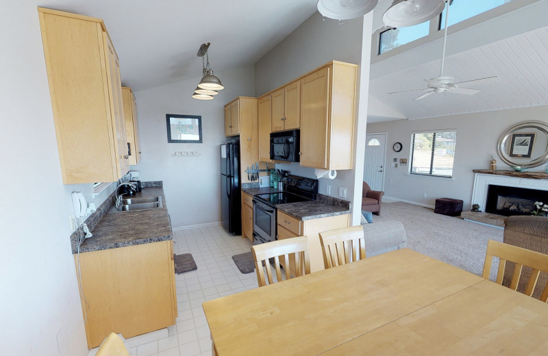 Rental kitchen at Irish Beach Vacation Rentals.