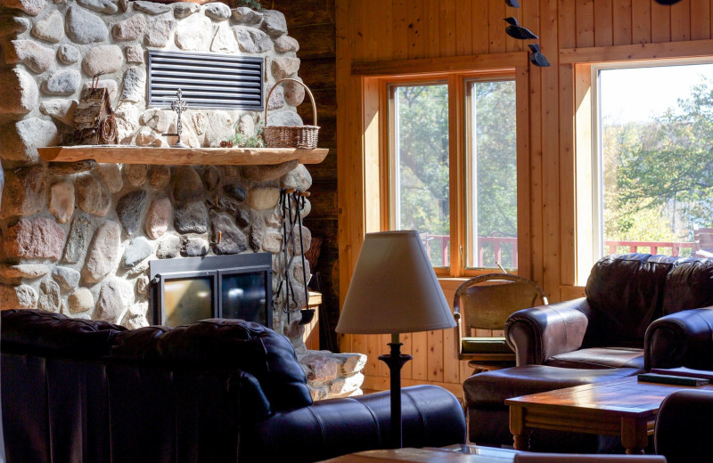 Cabin living room at Five Lakes Resort.
