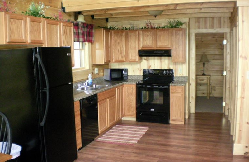 Cabin kitchen at Harman's Luxury Log Cabins.
