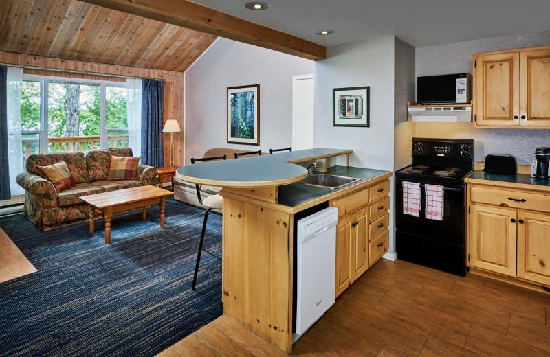 Guest kitchen living room at Sir Sam's Inn & Spa.