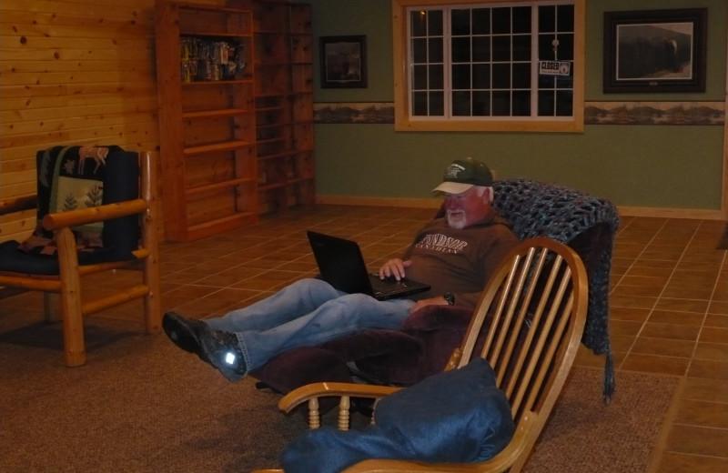 Relaxing at Lakeroad Lodge.
