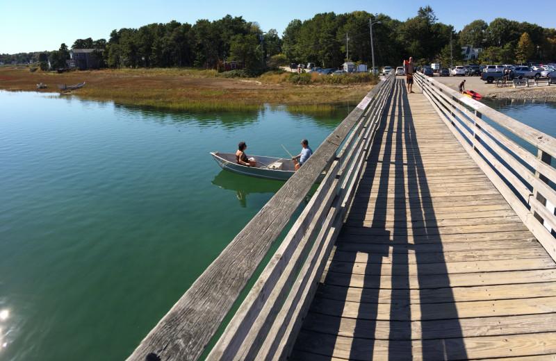 Fishing at Footbridge Beach Motel.