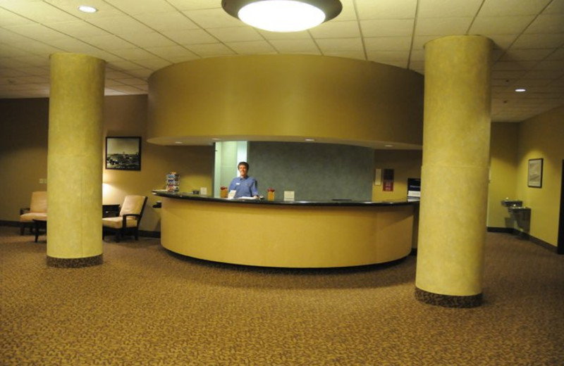 Front desk at The Suites Hotel at Waterfront Plaza.