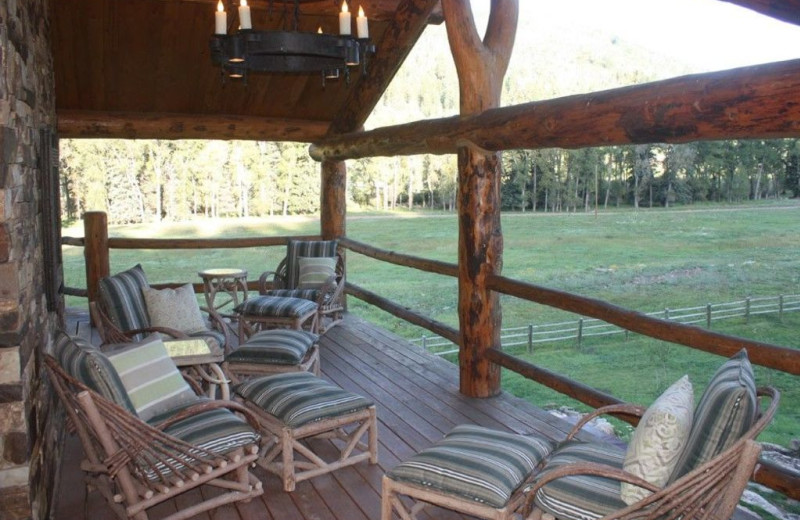 Rental porch at Welcome to Telluride Vacation Rentals.